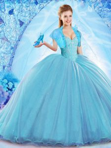 Designer Baby Blue Sleeveless Beading Lace Up Sweet 16 Quinceanera Dress