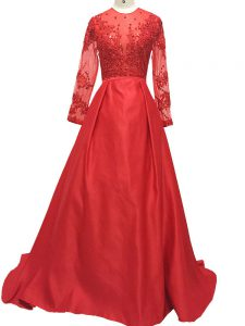 Dynamic A-line Long Sleeves Red Prom Party Dress Brush Train Zipper