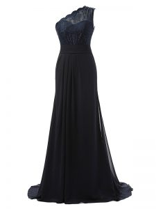 Side Zipper Damas Dress Black for Prom and Party and Wedding Party with Lace Brush Train