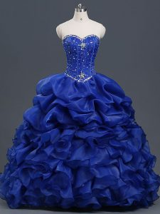 Floor Length Lace Up 15 Quinceanera Dress Royal Blue for Military Ball and Sweet 16 and Quinceanera with Beading and Ruffles and Pick Ups