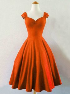 Vintage Sleeveless Taffeta Knee Length Lace Up Quinceanera Court Dresses in Rust Red with Ruching