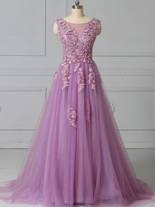 Lilac Sleeveless Appliques and Pattern Lace Up Pageant Gowns