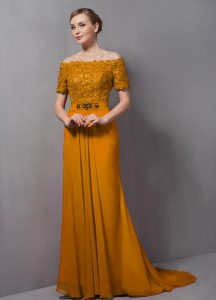 Elegant Gold Empire Chiffon Off The Shoulder Short Sleeves Lace Zipper Prom Dress Sweep Train