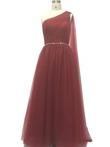 Trendy Sleeveless Beading and Pleated Zipper Homecoming Dress with Burgundy Sweep Train