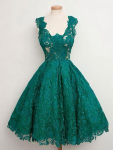 Dramatic Sleeveless Lace Up Knee Length Lace Court Dresses for Sweet 16