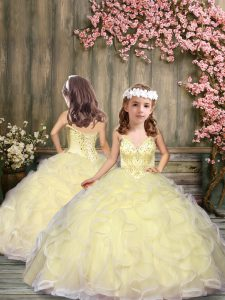 Dazzling Floor Length Light Yellow Little Girl Pageant Gowns Tulle Sleeveless Beading and Ruffles