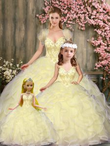 Ideal Sleeveless Floor Length Beading and Ruffles Lace Up Quinceanera Gowns with Light Yellow