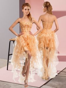 High End Gold Sleeveless High Low Beading and Ruffles Lace Up Cocktail Dress