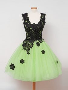 New Arrival Sleeveless Knee Length Appliques Zipper Court Dresses for Sweet 16 with