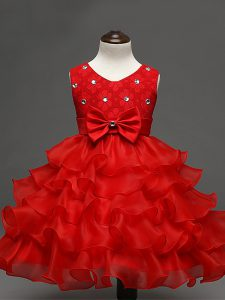 Red Zipper Scoop Lace and Ruffled Layers and Bowknot Kids Pageant Dress Organza Sleeveless