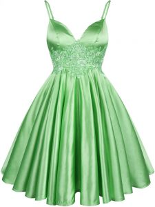 Glorious Green Dama Dress for Quinceanera Prom and Party and Wedding Party with Lace Spaghetti Straps Sleeveless Lace Up