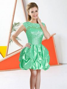 Apple Green Bateau Backless Beading and Lace and Ruffles Dama Dress for Quinceanera Sleeveless