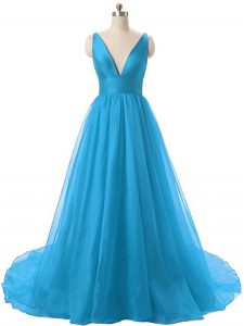 Excellent Blue Backless Prom Gown Ruching Sleeveless Brush Train