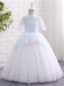 Blue And White Tulle Clasp Handle Little Girls Pageant Dress Wholesale Half Sleeves Floor Length Appliques