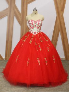 Gorgeous Red Sweetheart Lace Up Embroidery and Ruffled Layers Sweet 16 Quinceanera Dress Sweep Train Sleeveless
