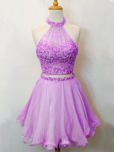 Knee Length Lace Up Court Dresses for Sweet 16 Lilac for Prom and Party and Wedding Party with Beading