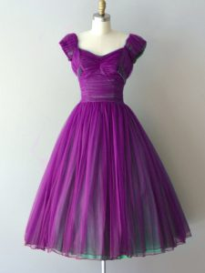 Purple Lace Up Quinceanera Court of Honor Dress Ruching Cap Sleeves Knee Length