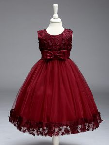 Burgundy Scoop Zipper Appliques and Bowknot Pageant Dress for Teens Sleeveless