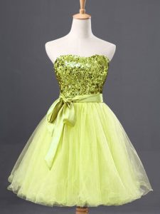 Yellow Green Sleeveless Tulle Zipper Prom Dress for Prom and Party