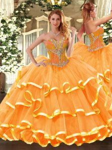Luxurious Floor Length Lace Up Quince Ball Gowns Orange for Sweet 16 and Quinceanera with Beading and Ruffled Layers