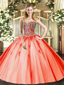 Sleeveless Tulle Floor Length Lace Up Quinceanera Gowns in Orange Red with Beading and Appliques
