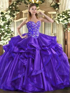Sweetheart Sleeveless Organza 15 Quinceanera Dress Embroidery and Ruffles Lace Up