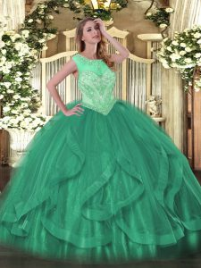 Floor Length Lace Up Quinceanera Gown Turquoise for Sweet 16 and Quinceanera with Beading and Ruffles
