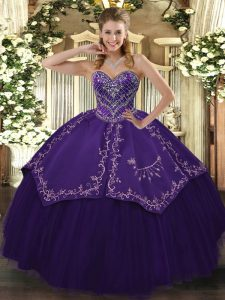 Low Price Pattern Sweet 16 Quinceanera Dress Purple Lace Up Sleeveless Floor Length