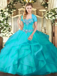 Inexpensive Tulle Sweetheart Sleeveless Lace Up Beading and Ruffles Vestidos de Quinceanera in Aqua Blue