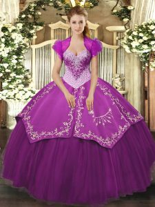 Suitable Purple Ball Gowns Sweetheart Sleeveless Satin and Tulle Floor Length Lace Up Beading and Embroidery Quince Ball Gowns