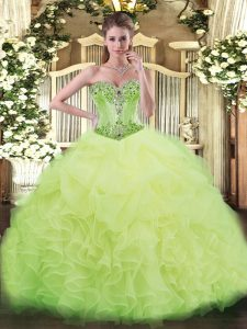 Yellow Green Vestidos de Quinceanera Sweet 16 and Quinceanera with Beading and Ruffles Sweetheart Sleeveless Lace Up