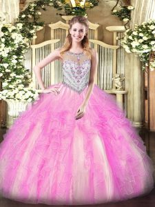 Sleeveless Tulle Floor Length Zipper Sweet 16 Dress in Lilac with Beading and Ruffles