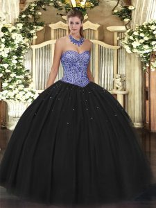 Sleeveless Tulle Floor Length Lace Up 15th Birthday Dress in Black with Beading