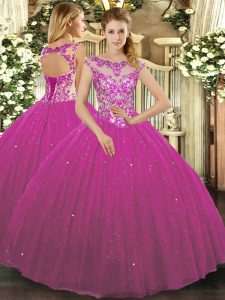 Custom Designed Floor Length Fuchsia Ball Gown Prom Dress Tulle Cap Sleeves Beading and Appliques