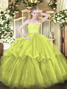Olive Green Sleeveless Beading and Lace and Ruffled Layers Zipper Ball Gown Prom Dress