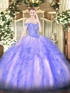 Lavender Ball Gowns Off The Shoulder Sleeveless Tulle Floor Length Lace Up Beading and Ruffles Ball Gown Prom Dress