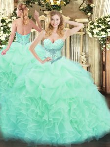 High Class Floor Length Apple Green Quinceanera Dresses Sweetheart Sleeveless Lace Up