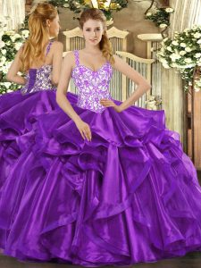 Fashionable Floor Length Eggplant Purple Sweet 16 Dresses Organza Sleeveless Beading and Appliques and Ruffles