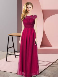 Super Fuchsia Sleeveless Floor Length Lace Zipper Prom Gown