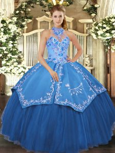 Trendy Teal Halter Top Neckline Beading and Embroidery Quinceanera Dress Sleeveless Lace Up