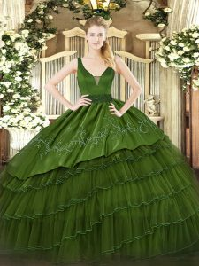 Simple Sleeveless Organza and Taffeta Floor Length Zipper Quinceanera Gown in Dark Green with Beading and Embroidery and Ruffled Layers