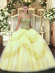 Floor Length Lace Up Quinceanera Dresses Light Yellow for Military Ball and Sweet 16 and Quinceanera with Beading and Appliques