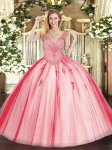 V-neck Sleeveless Tulle Quinceanera Gown Beading Lace Up