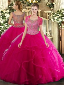 Hot Pink Sleeveless Floor Length Beading and Ruffled Layers Clasp Handle Ball Gown Prom Dress