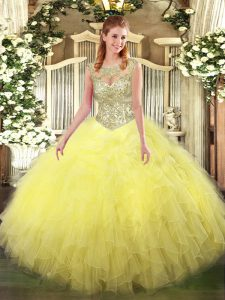 Ball Gowns Quinceanera Dresses Yellow Scoop Tulle Sleeveless Floor Length Lace Up