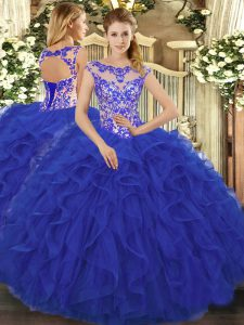 Royal Blue Organza Lace Up Scoop Sleeveless Floor Length Quinceanera Gown Beading and Ruffles