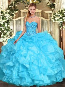 Organza Sweetheart Sleeveless Lace Up Beading and Ruffles Sweet 16 Quinceanera Dress in Aqua Blue