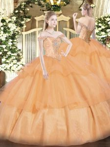 Graceful Off The Shoulder Sleeveless Lace Up 15th Birthday Dress Orange Organza