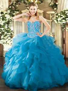 Glorious Sleeveless Organza Floor Length Lace Up Sweet 16 Quinceanera Dress in Aqua Blue with Beading and Ruffles