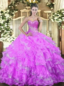 Fancy Sleeveless Beading and Ruffled Layers Lace Up Sweet 16 Dress